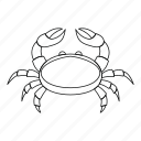 animal, crab, line, ocean, outline, seafood, thin icon