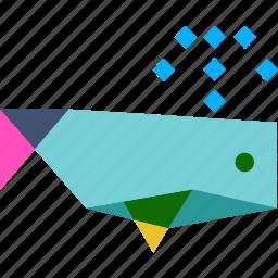 calf, cetacean, fin, mammal, sea, underwater, whale icon