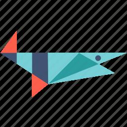 big, cellophane, color, fish, food, sea, shark icon