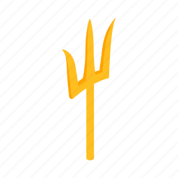 ancient, isometric, poseidon, sharp, spear, trident, weapon icon