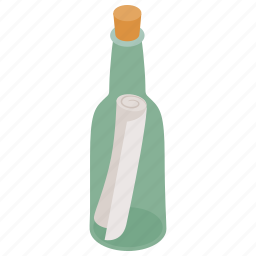 bottle, glass, help, isometric, message, note, sea icon