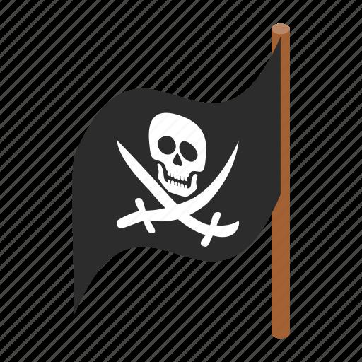 danger, flag, isometric, jolly, pirate, roger, skull icon