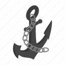 anchor, illustration, isometric, marine, metal, steel, vintage icon