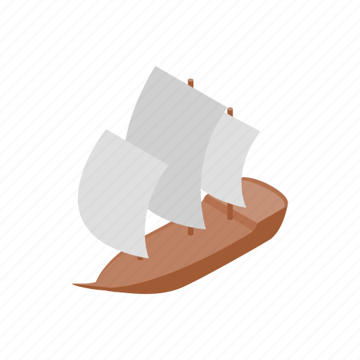 boat, isometric, sailboat, sea, ship, yacht, yachting icon