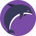 dolphin, fish, mammal, marine animal, sea life icon