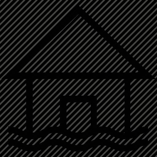beach house, house, island, resort, sea, sea house icon