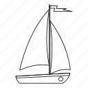 boat, line, ocean, outline, sea, yacht, yachting icon