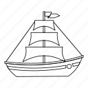 boat, line, ocean, outline, sails, sea, yacht icon