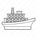 big, boat, line, outline, sea, ship, yacht icon