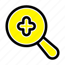 expanded, plus, search icon