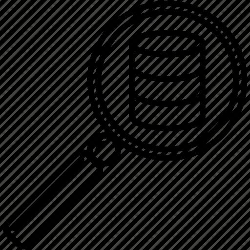 database, find data, find database entry, find entry, search, search data, search database icon