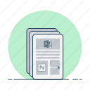 internet, material, news, pages, read, templates icon