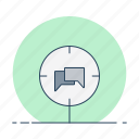 audience, chat, comunication, forum, message, target icon