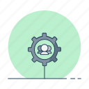 assist, engine, gear, seo, staff, support icon