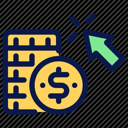 click, coin, money, pay, per, seo icon