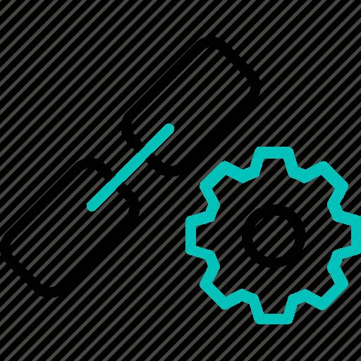 gear, hyperlink, link, optimise, seo, web, web link icon icon