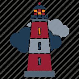lighthouse, marine, nautical, navy, ocean, sea, seaside icon