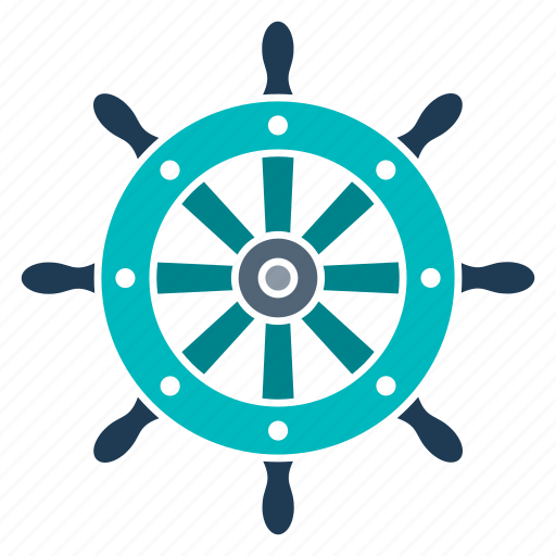 marine, nautical, navy, ocean, sea, seaside, wheel icon