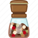 cooking, mix pepper, orient, pepper mill, seasoning, spice, yumminky icon