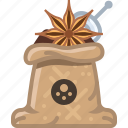 anise, badian, cooking, sack, seasoning, spice, yumminky icon