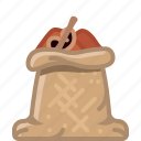 cinnamon, cooking, orient, sack, seasoning, spice, yumminky icon