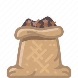 cloves, cooking, orient, sack, seasoning, spice, yumminky icon