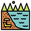 beach, sea, summer, trip icon
