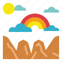 atmospheric, clouds, rainbow, spectrum