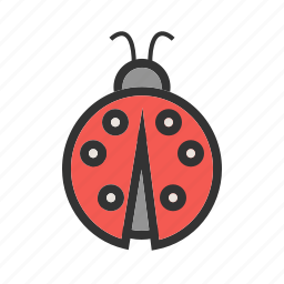 beetle, flying, insect, leaf, nature, red icon