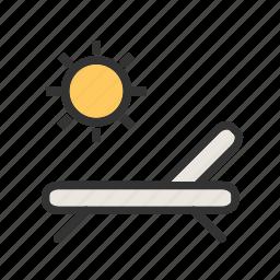 beach, blue, sand, sky, summer, sun, sunbathe icon