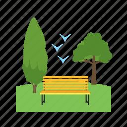 beautiful, field, grass, green, nature, park icon