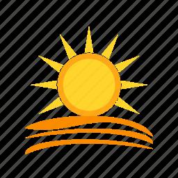 beautiful, blue, color, nature, orange, sky, sunset icon