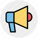 announcement, attention, loudspeaker, megaphone, round, talk icon
