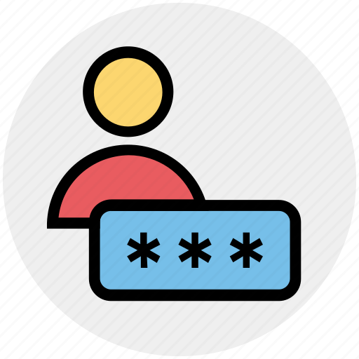 interface, name, password, person, security, user icon
