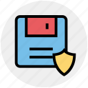 data security, database, floppy disk, locked data, shield sign