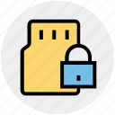 card, device, lock, memory card, mobile card, sd, security icon