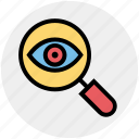 crime, eye, lock, magnifier, magnifier eye, review, search icon