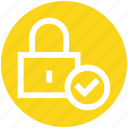 check, check security, lock, locked, padlock, password, secure icon