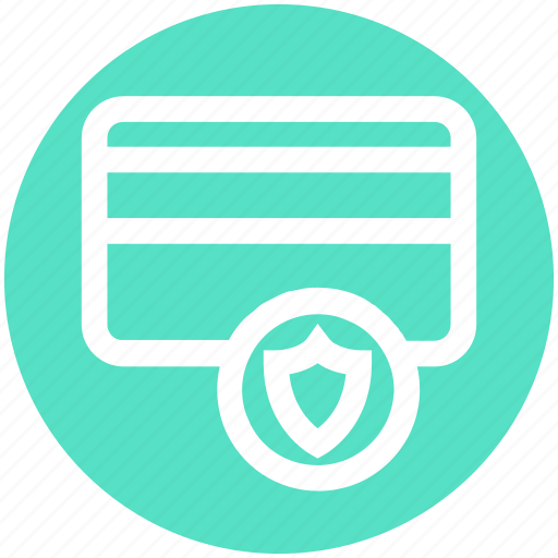 Atm card, credit card, debit card, secure, security, shield icon - Download on Iconfinder