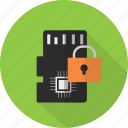 card, device, lock, memory, mobile, sd, security icon