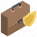 briefcase and shield, business defense, business insurance, business protection, portfolio shield icon