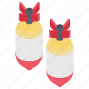 bomb missiles, cartoon missiles, explosive devices, fission bombs, flying bomb icon
