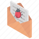 email infected, email with virus, internet hacking, pirate threat letter, spam message icon