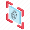 biometric security, fingerprint scan, screen protection, thumb impression, touch lock icon