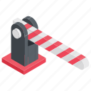 barrier gate, boom barrier, boom gate, controlled point, level crossing icon