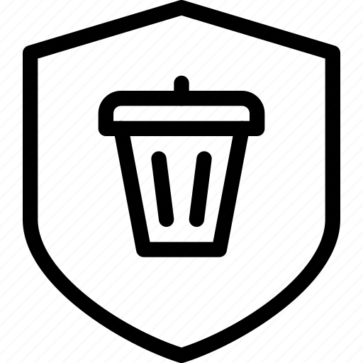 bin, protection, secure, security, trash icon