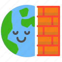 active, earth, firewall, protection, wall icon