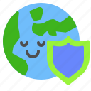 earth, global, globe, protection, security, shield icon
