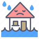 drops, flood, home, house, rain icon