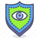 eye, individual, scan, secure, shield icon